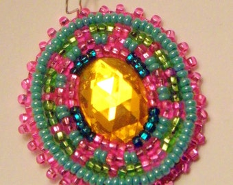Native American Beaded Earrings in Green and Pink on Soft Leather, Oval - Breast Cancer Awareness (532)