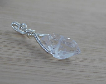 Diamond Quartz Wrapped in Silver Parawire Wire Pendant Charm Handmade Jewelry