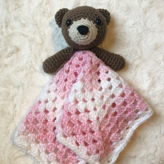 Bear lovey blanket pattern, Lovey crochet pattern,Bear security ...