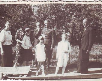 Vintage Photo - Family Photo - Soldier - Soldier's family - 1930s Photo - Vintage Snapshot - Polish Photo - Garden photo - Children photo