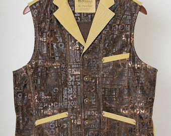 Old'n'Gold 04 men's leatherette waistcoat with lapels