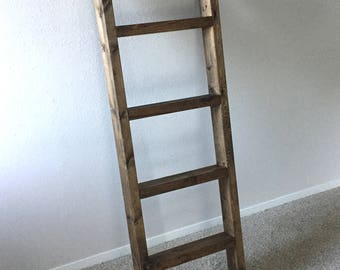 Blanket Ladder, Quilt Ladder, Bedroom Blanket organizer, Rustic Decor, Farmhouse, (Straight Rung)