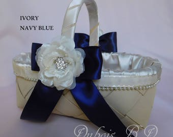 Navy blue basket, Flower girl basket, Ivory Flower girl basket, Wedding basket, Wedding decoration,  wicker basket, rustic basket
