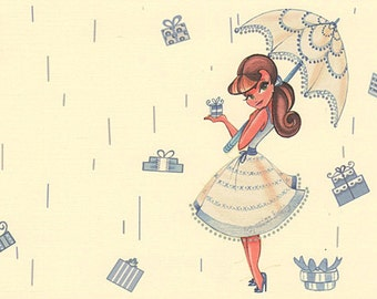 Bridal Shower Invitation Set of 12, Pinup Girl Style Wedding Shower Invites, Umbrella, Blue and White Dress, Linen Card Stock by MissHollyLu
