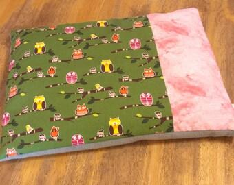 Child pillow / Organic buckwheat hulls / Owl Green Pink Grey