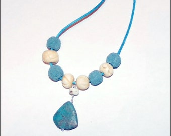Oil Diffuser Lava Bead and Turquoise Necklace