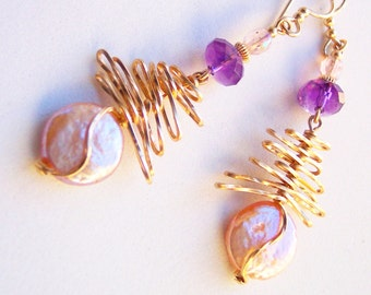 Blush Pink Pearl Earrings, Mother's Day Gift for Her, Ultra Violet Amethyst Earrings, June Birthday Gift February Birthstone, Gold Earrings
