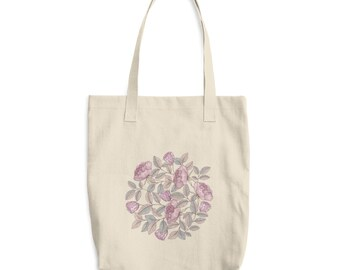 Floral Rose Tote Bag - Recyclable Bag - Shopping Bag - Go Green