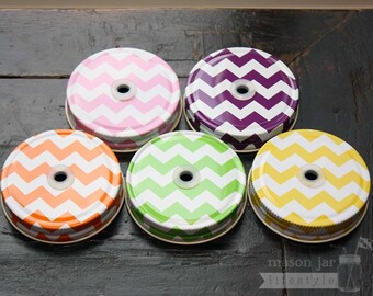 Mason Jar Tumbler Straw Hole Lid 4-pack for Regular Mouth Jars in Chevron | Drinking Lid | Accessories | Smoothie | Kid's / Children's Lid