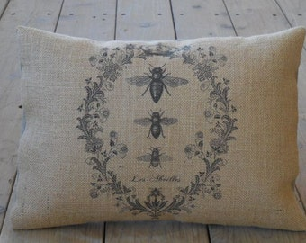 French Bee Burlap Pillow, Shabby chic, Bee Decor, Farmhouse Pillows, B1,  INSERT INCLUDED