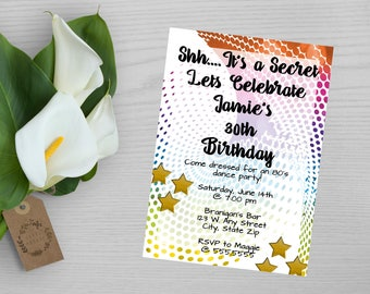 80's Birthday Party Invitation-80's Party Invitation-Rainbow Dots and Stars Birthday Party Invitation-Bright Birthday Party Invitation
