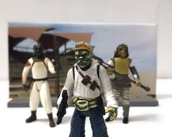 Star Wars Kids Toy Action Figure Display Gift, ROTJ Jabba Skiff Guards, 90s Vintage Star Wars Toys, Set of 3, Star Wars Diorama