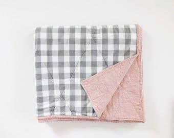Monroe Wholecloth Quilt - Gingham Quilt - wholecloth baby quilts - gingham blanket - gingham bedding - pink quilt -