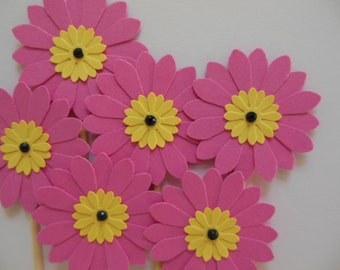 Flower Cupcake Toppers - Bright Pink and Lemon Yellow Daisies - Girl Birthday Parties - Bridal Showers - Weddings - Girl Baby Showers