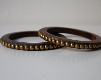 Bracelet, Wood Gold Bangle, Boho Jewelry, Hippie Chic