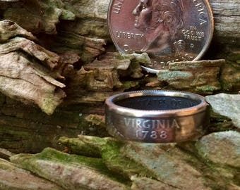 Virginia state quarter coin ring