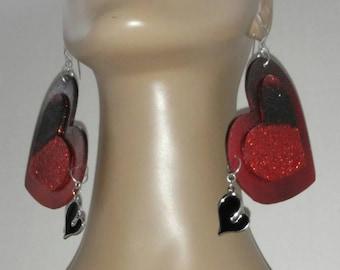 Fabulous Heart Wooden  Earrings Embellished with Beautiful Glitter , Heart Earrings, Handmade Earrings, Fashion Earrings, Women's Earrings