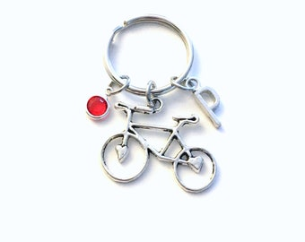 Personalized Bike KeyChain, Bicycle Key Chain, Silver Bike Keyring, Triathlon Gift for Bicyclist Initial Birthstone Letter Women Her cyclist