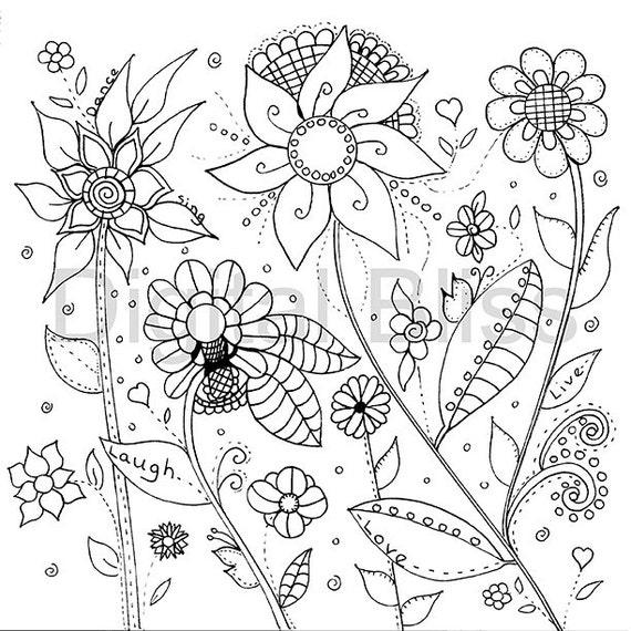 Adultos para colorear páginas diseño de flores silvestres