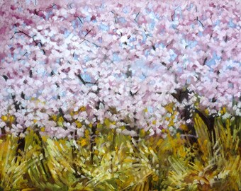 Blossoms and Hazel mounted print of an original chalk pastel painting by Tracy Butler