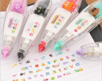 Kawaii Animals Press Type Decorative Correction Tape 4mm*6m , School Office Supply Stationery Kids Student Gift