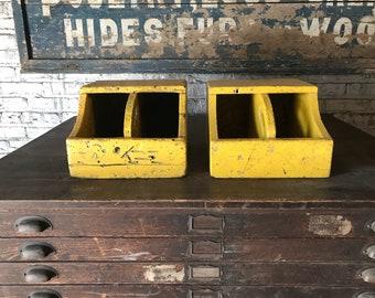 Pair of Vintage Industrial Wood Parts Totes Painted Caddies Rustic Home Decor
