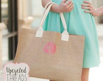 Monogrammed Burlap Tote, Burlap tote bag , burlap bag, bridesmaid bags , rustic wedding, bridesmaid gifts, Personalized Tote, burlap tote