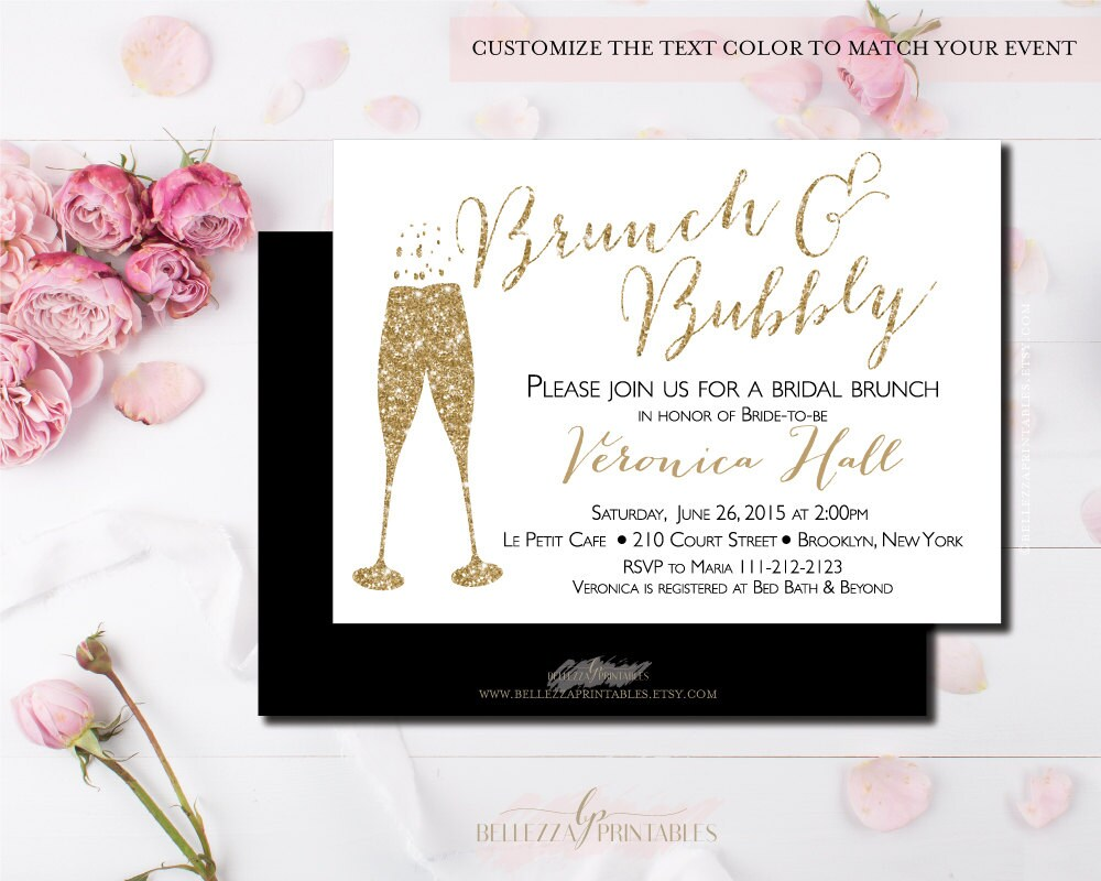 Brunch and Bubbly Bridal Shower Black & Gold Bridal Brunch