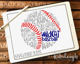 Messy Wildcat Baseball INSTANT DOWNLOAD in dxf, svg, eps for use with programs such as Silhouette Studio and Cricut Design Space