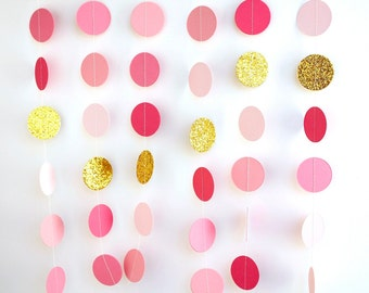 Pink Gold paper garland, metallic glitter Gold circles, birthday party decoration, gold pink ombre wedding shower, bridal shower
