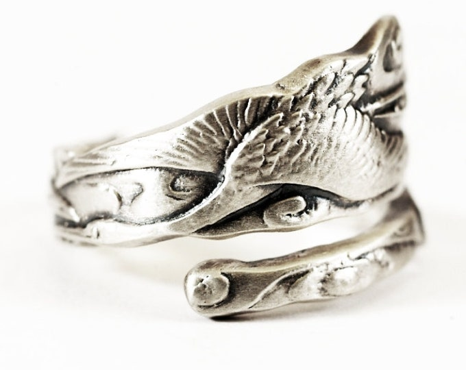 Crane Ring, Bird Ring, Sterling Silver Spoon Ring, Crane Art, Handcrafted Jewelry, Asian Ring, Adjustable Ring Size 5 6 7 8 9 10 11 (2177)