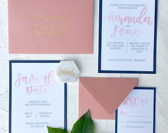 Blush Watercolor and Navy Wedding Suite   Blush and Navy Wedding Suite   Custom Wedding Suite   Blush and Navy Wedding Invitations   Wedding
