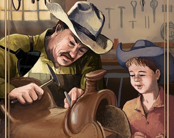 Cowboy Saddle Maker (Art Prints available in multiple sizes)