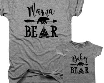 MAMA Bear, BABY Bear, 2-Pack, Bundle, mom and baby, bear, woodland, baby shower gift, boho mama, baby shower, new mom, gift set  B097