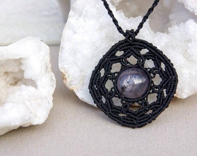 Macrame Necklace with STAR RUBY, talisman necklace, yoga necklace, stone amulet, talisman, goddess necklace, amulet stone, fairy amulet