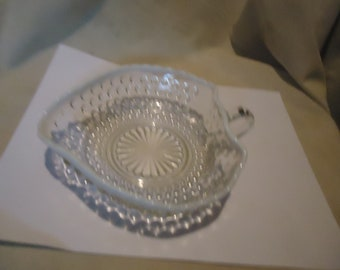 Vintage Moonstone Opalescent Hobnail Heart Shaped Candy Dish, collectable