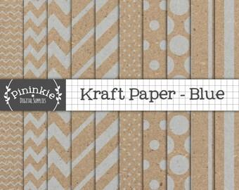 Blue Kraft Digital Paper Pack, Blue Kraft Scrapbook Paper, Blue Kraft Textured Paper, Instant Download, Commercial Use