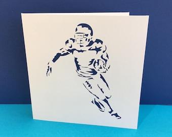 American Football Card - Football Player - Handmade Greeting Card - Paper Cut - Sports, Personalised, Birthday Card, Husband, Boyfriend, Son