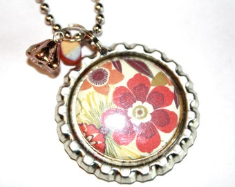 Bottle Cap Necklace, Gift, Whimsy Jewelry, Floral Necklace