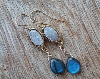 Druzy Earrings Labradorite Earrings Drop Earrings Blue Flash Earrings Gold Druzy Earrings Bridal Earrings Something Blue Bridesmaids Gift