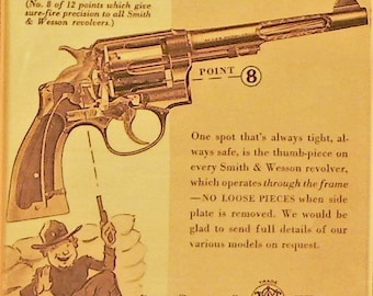 1939 Smith & Wesson Ad Matted Vintage Print