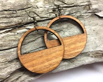 """1.75"""" or Custom Size Lightweight Wood Hoop Earrings Custom Made to Order - Your Choice of Color Wooden Loop Earrings"""