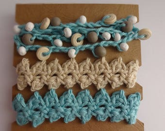 Crocheted Beaded Bracelet Trio