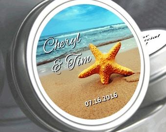 Wedding Favors- 12 Personalized Wedding Mint Tins - Wedding Mints - Mint Favors - Beach Favors - Starfish Favors - Starfish Stickers