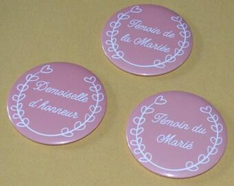 Round Pocket mirror gift wedding bridesmaid future bride light coral color customizable 75 mm