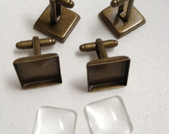 40 pcs Combo  - 16mm Antique Bronze Plated Brass Square Cufflink Blank with Glass tile incerts