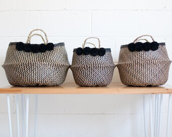 Raven Pompom Baskets - Belly Basket - Storage Basket - Plant Basket - Pompom Basket - Black Basket - Seagrass Basket - Collapsible Basket