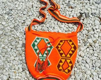Orange Aztec woven bag