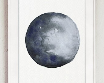 Waxing Crescent Moon Watercolor Painting, Space Illustration Digital File, Blue Grey Abstract Illustration, Printable Card Instant Download