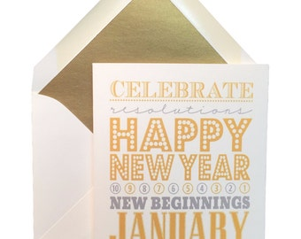"Happy New Year Cards, Box of 8 w/ lined envelopes, Greeting Cards, Celebrate, January, Gifts,  4"" X 5.5"""